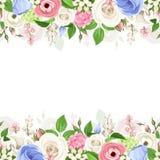 Horizontale naadloze achtergrond met roze, witte en blauwe bloemen Vector illustratie Stock Afbeeldingen