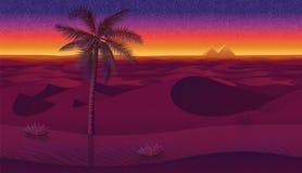 Horizontale naadloze achtergrond met woestijn, palmen en droog gras Stock Afbeeldingen