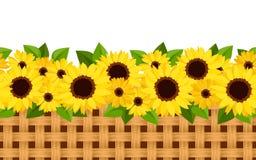 Horizontale naadloze achtergrond met zonnebloemen en Stock Afbeelding