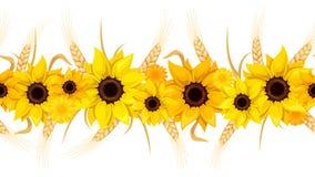 Horizontale naadloze achtergrond met zonnebloemen en oren van tarwe Vector illustratie Stock Afbeelding