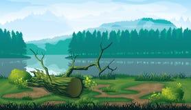 Horizontale naadloze achtergrond van landschap met rivier, bos en bergen vector illustratie
