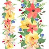 Horizontale Naadloze Bloemengrenzen Getrokken rozen en wilde bloemen Stock Afbeelding