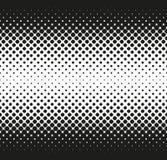 Horizontale naadloze Halftone van grote rond gemaakte vierkanten vermindert aan centrum, op wit Contrasty halftone achtergrond Ve Stock Foto