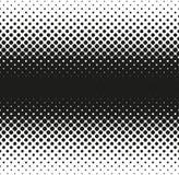Horizontale naadloze Halftone van grote rond gemaakte vierkanten vermindert aan rand, op wit Contrasty halftone achtergrond Vecto Stock Afbeeldingen