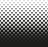 Horizontale naadloze Halftone van grote zwarte rond gemaakte vierkanten vermindert omhoog, op wit Contrasty halftone achtergrond  Stock Afbeeldingen