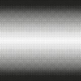 Horizontale naadloze Halftone van rond gemaakte vierkantendalingen aan centrum, op wit Contrasty halftone achtergrond Vector Royalty-vrije Stock Foto