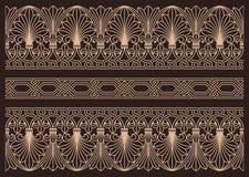 Horizontale naadloze siergrenzen Royalty-vrije Stock Afbeeldingen