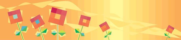 Horizontale oranje achtergrond met rode bloemen Stock Afbeeldingen