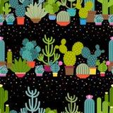 Horizontale patronen van cactus in vlakke stijl stock illustratie