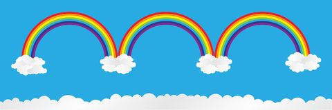 horizontale regenboog op blauwe hemel met wolken, vectorillustratie vector illustratie