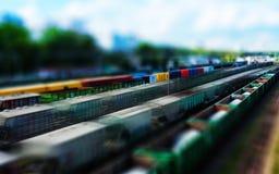 Horizontale stuk speelgoed de motieabstractie van het treinperspectief Stock Fotografie