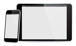 Horizontale Tabletpc en Verticale Mobiele Telefoon Vectorillustratie Stock Foto's