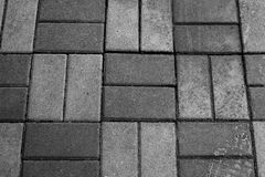 Horizontale Textuur van Gray Brick Footpath royalty-vrije stock afbeelding