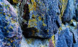 Horizontale trillende zure de rotstextuur van mosstenen Stock Afbeelding