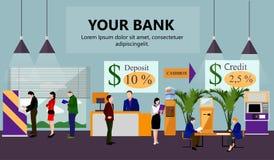 Horizontale vectorbanner met bankbinnenland Financiën en geldconcept Vlakke beeldverhaalillustratie Stock Foto