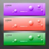 Horizontale Vektorfahnen mit Molekülen entwerfen Purpurroter Hintergrund mit Halbtonperlen kugeln vektor abbildung