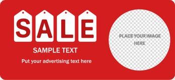Horizontale verkoop rode banner Stock Foto