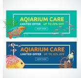 Horizontale vlakke aquariumbanners met het kopen van knoop Vissen vectorillustratie Stock Foto