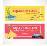 Horizontale vlakke aquariumbanners met het kopen van knoop Vissen vectorillustratie Stock Afbeelding