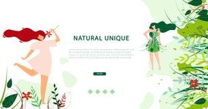 Horizontale Vlakke Banner Natuurlijke Unieke Levensstijl royalty-vrije illustratie