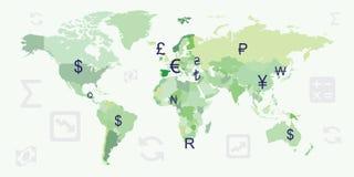 Horizontale wereldmunten vector illustratie