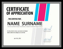Horizontale Zertifikatschablone, Diplom, Buchstabegröße, Vektor stock abbildung