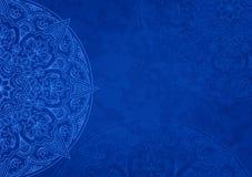 Horizontaler blauer Hintergrund mit Entwurfsmandala stock abbildung