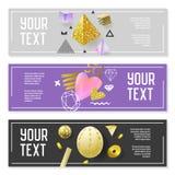 Horizontaler Fahnen-Satz mit Goldfunkeln-Elementen Plakat-Einladungs-Beleg-Schablonen Abstraktes Karten-Design Lizenzfreies Stockfoto