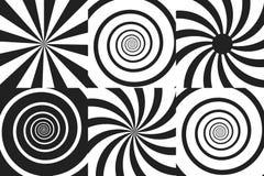 Horizontaler Fahnensatz psychedelische Spirale mit Radialstrahlen, Rotation, verdrehter komischer Effekt, Turbulenzhintergründe V Stockfoto