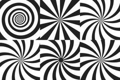 Horizontaler Fahnensatz psychedelische Spirale mit Radialstrahlen, Rotation, verdrehter komischer Effekt, Turbulenzhintergründe V Stockbild