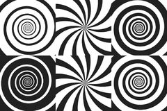 Horizontaler Fahnensatz psychedelische Spirale mit Radialstrahlen, Rotation, verdrehter komischer Effekt, Turbulenzhintergründe V Stockfotografie