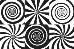 Horizontaler Fahnensatz psychedelische Spirale mit Radialstrahlen, Rotation, verdrehter komischer Effekt, Turbulenzhintergründe V Lizenzfreies Stockfoto