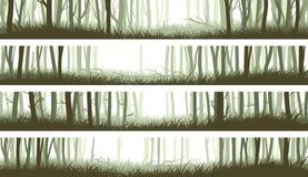 Horizontaler Fahnenwald mit Stämmen und Reinigung im Holz stock abbildung