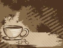 Horizontaler grungy Kaffeehintergrund Stockbild