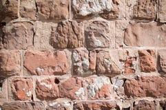 Horizontaler Hintergrund des verwitterten Ziegelsteines Stockbild