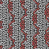 Horizontaler Maze Vector Seamless Pattern Lizenzfreies Stockfoto
