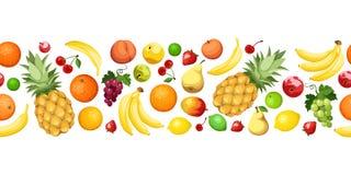 Horizontaler nahtloser Hintergrund mit Früchten Vektor Lizenzfreie Stockfotografie