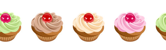 Horizontaler nahtloser Hintergrund mit kleinen Kuchen. Stockfoto