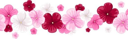 Horizontaler nahtloser Hintergrund mit Malvenblumen Stockbilder
