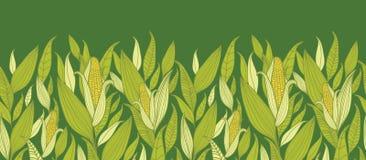 Horizontaler nahtloser Musterhintergrund der Maispflanzen Stockbilder