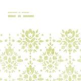 Horizontaler Rahmen der grünen Textildamast-Blume Stockfoto