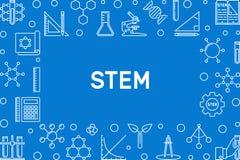 Horizontaler Rahmen des STAMM-Konzept-Entwurfs Auch im corel abgehobenen Betrag vektor abbildung