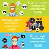 Horizontaler Satz der Hippie-Artfahne, flache Art Lizenzfreie Stockfotografie