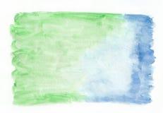 Horizontaler Steigungshintergrund der Smaragdjade und des azurblauen Mischaquarells Stock Abbildung