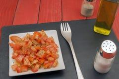 Horizontaler Tomatensalat Stockfotografie