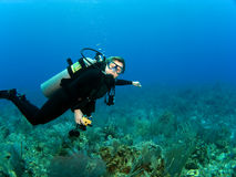 Horizontaler Unterwasseratemgerät-Taucher mit Exemplar-Platz Stockfotos