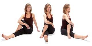 Horizontaler Zusammenbau der drei Winkel eines Mädchens Lizenzfreie Stockfotografie