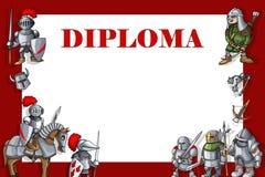 Horizontales Ausbildungsdiplom Feld mit den Rittern eingestellt auf roten Hintergrund