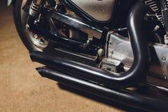 Horizontales Bild der Details eines Motorrades stockfotos