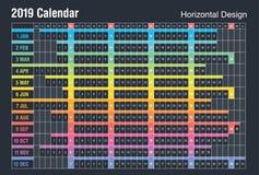 Horizontales Design mit 2019 Kalendern Farbenreiche Art des Vektors Sonntags-Wochenende vektor abbildung